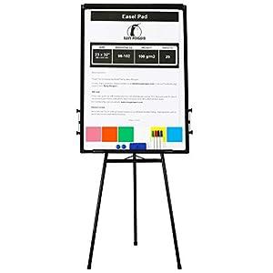 Rotafolios/ Flipchart Set – 100x70cm Grande Pizarra Blanca Magnetica con Caballete de Tripode + 1 Borrador Magnetico, 4…