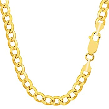 14K Yellow Gold Filled Solid Curb Chain Bracelet 7.0mm 8.5