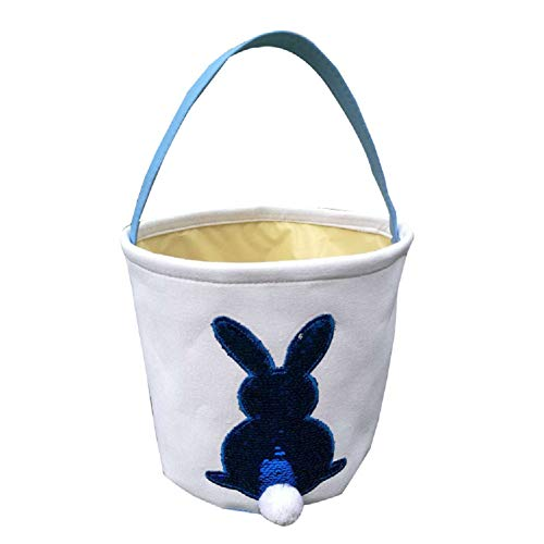 Jolly Jon Easter Bunny Basket Bag - Blue to Silver Sequin Colors - Kids Easter Egg Hunt Baskets - Color Changing Reusable Party Bags - Rabbit with Cotton Tail Canvas Tote