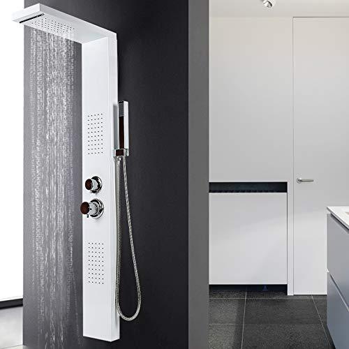 Columna de ducha, panel de ducha, acero inoxidable, cuatro modos, blanco