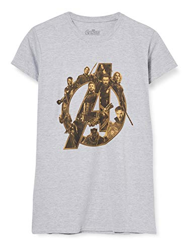 Marvel Infinity War Avengers Logo Camiseta, Gris (Sports Grey SpGry), 42 (Talla del Fabricante: X-Large) para Mujer