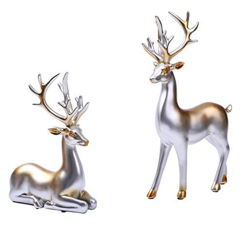 SUPVOX Figuras de Renos Escultura de Resina Modelo Animal Figuras en Miniatura Toppers de Pastel para Decoración de Muebles para El Hogar