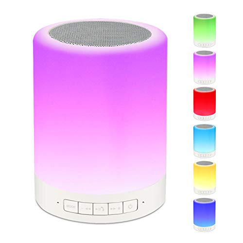 Night Light Bluetooth Speaker Wireless - RAGZAN Portable Smart Touch Control Bedside Table Lamp with Colorful Led, Best Gift for Teens Kids Children Students Girlfriend Boyfriend Women Men