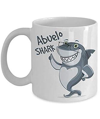 Abuelo Shark Mug - Grandfather in Spanish - Birthday, Baby Reveal for Fathers, Dad, Husband, Grandpa - 11oz Coffee Mug