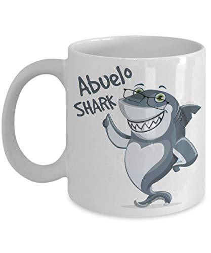 Taza de café Abuelo con diseño de tiburón, para el día del padre, cumpleaños, Navidad, regalo para papá, marido, abuelo, 325 ml