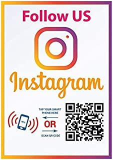 Follow Us on Instagram Sticker - Social Media QR Code and NFC Tag - Storefront Window Decal - Two-Sided Window Sticker - Custom-Designed for Instagram