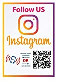 Follow Us on Instagram Sticker - QR Code and NFC Tag - Two-Sided Social Media Storefront Window Decal - Custom-Designed for Instagram