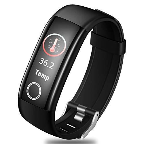StillCool Fitness Armband mit Temperaturmessung, Smartwatch mit Pulsmesser Blutdruck, Aktivitäts-Tracker, Schrittzähler, Schlafüberwachung, mit iOS Android, Damen Herren Anruf SMS Beachten