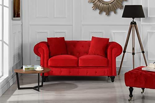 Divano Roma Furniture Classic Modern Scroll Arm Velvet Chesterfield Love Seat Sofa