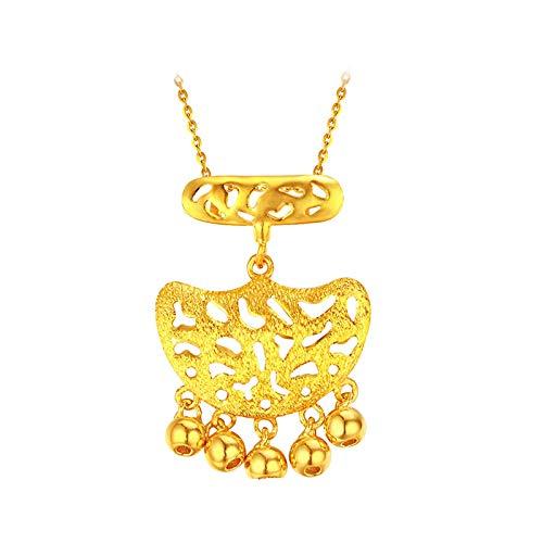 KnSam Gold Kette 999 Damen Halskette Gold 999 Gelb Gold Glücksschloss Gold Halskette nur Anhänger