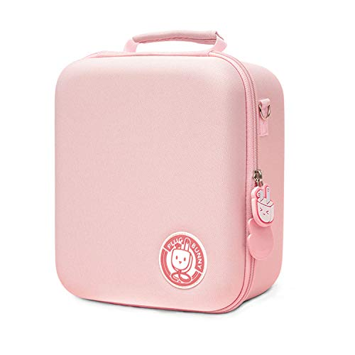 U Core Pink Plug Bunny Carrying Case for Nintendo Switch, Protective Travel System Bag with 18 Game-Card Slots for Switch Console, Pro Controller, Dock and Other Switch Accessories