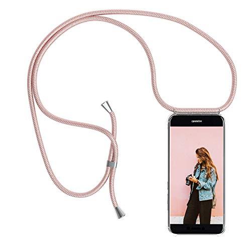 YuhooTech Funda con Cuerda para Huawei P8 Lite 2017, [Moda y Practico] [ Anti-Choque] [Anti-rasguños] Suave Silicona Transparente TPU Carcasa de movil con Colgante/Cadena, Oro Rosa