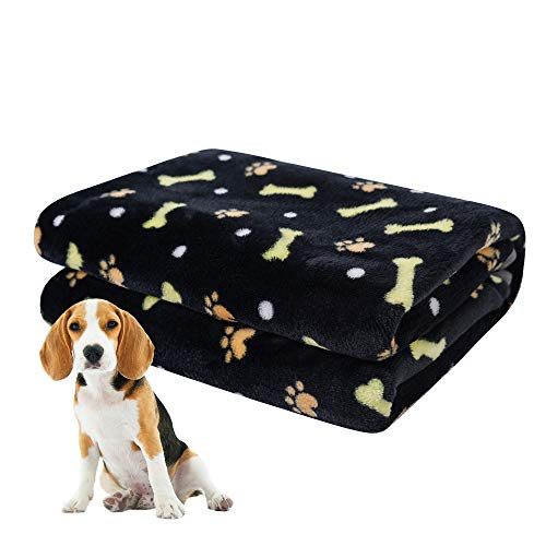 softan Dog Blanket, Fluffy Pet Blanket for Small Medium Large Dog, Washable Puppy Blanket, Soft and Warm Flannel Fleece Cat Blanket, 39″×47″, Black
