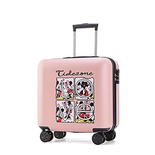 Valigia dei Bambini Svegli, Bagagli di Viaggio del Fumetto, Bagagli di Viaggio del Ragazzo, del Ragazzo E della Ragazza Piccola Valigia con 4 Ruote (Taglia 38 X 22 X 44 Cm),Mickey Pink