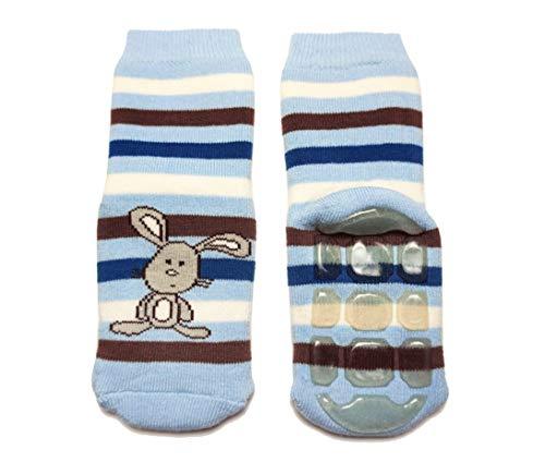 Weri Spezials Baby Voll-ABS Voll-Frotee Ringel Hase Socke in Hell Blau Gr.17-18 (6-9 Monate)
