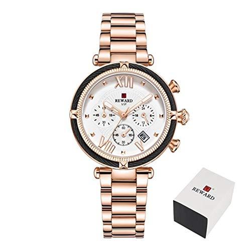 JIADUOBAO Reloj de pulsera para mujer de lujo, correa de acero, reloj de cuarzo para mujer (color caja de oro rosa)