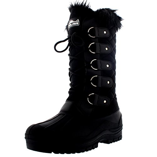 POLAR Womens Waterproof Tactical Mountain Walking Snow Knee Boots - Black - US8/EU39 - YC0356
