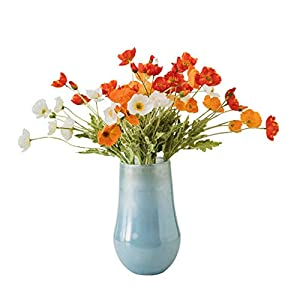 fevilady Artificial Flowers Artificial Poppy Flowers Bridal Wedding Bouquet Home Office Party Bouquet Vase Set Decoration Silk Flower Fake Flower Fake Flower Suit