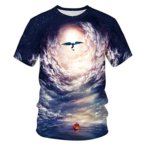 Men's short sleeve 3D digital print dragon toothless space design lovers summer t-shirts -  Yellow - Large