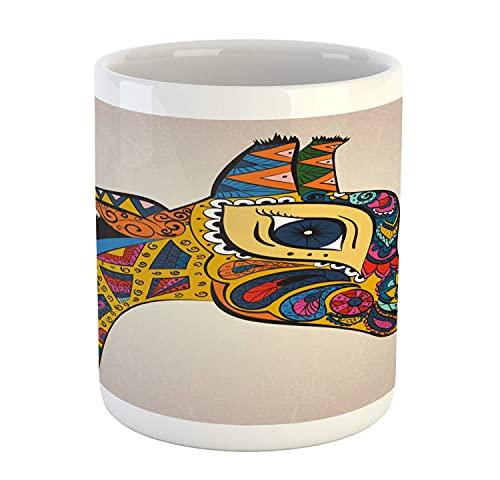 N\A Taza de Jirafa, Motivo Animal con Paisleys y patrón geométrico, Criatura ornamentada Oriental, Taza de café de cerámica para Bebidas de té de Agua, 11 oz, Multicolor