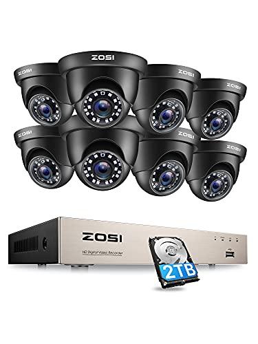 ZOSI Kit de Cámara de Vigilancia Seguridad Exterior 8CH 1080P Video Grabador DVR con (8) Cámara Interior, 20m Visión Nocturna, Alarma de Movimiento, 2TB Disco Duro Incluido