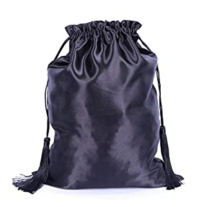 Silk Satin Wig Bags, Hair Storage Bags for Packaging Wigs, Bundles, Hair Extensions, Travel, Large Satin Bags with Drawstring Pouches Gift Bags with Tassel AliPearl Hair Bags (3 Black Bags)
