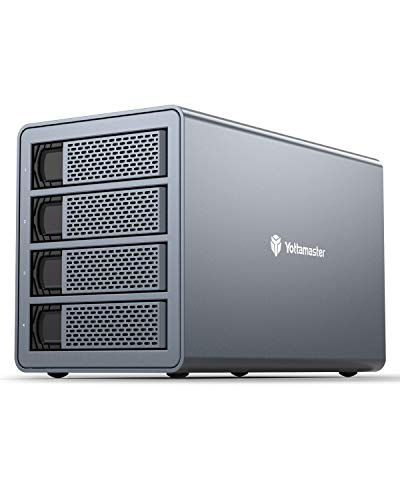 Yottamaster Aluminum 4 Bay RAID Festplattengehäuse, SATA 5Gbps Externe Festplatte Gehäuse for 2.5