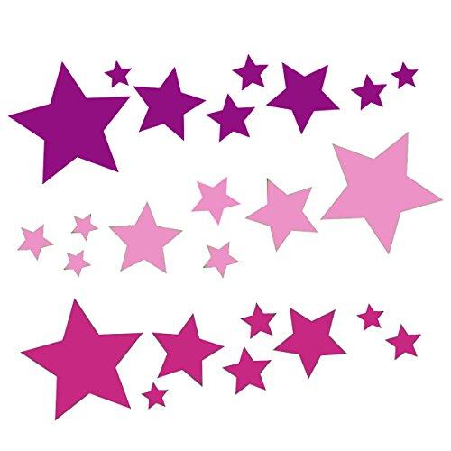 tjapalo 24 Sterne Set Aufkleber auto Sterne Sticker Fenster Weihnachtsdekoration Baby Wandtattoo Kinder Autoaufkleber lila rosa pink