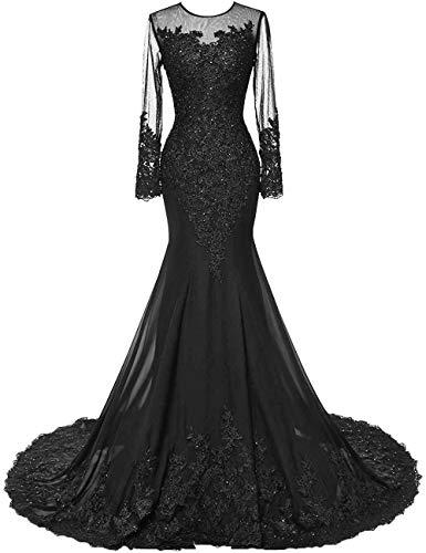 HUINI Abendkleider Lang Meerjungfrau Brautkleider Hochzeitskleid Chiffon Ballkleider Langarm Festkleid Mit Schleppe Schwarz 46
