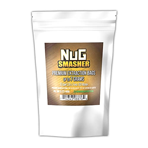 NugSmasher Rosin Press Bags -7 Gram (120 Micron) sized for nug smasher rosin press heat press and other machines each package contains 12 double back stitched press bags that measure 2.6″ x 3″