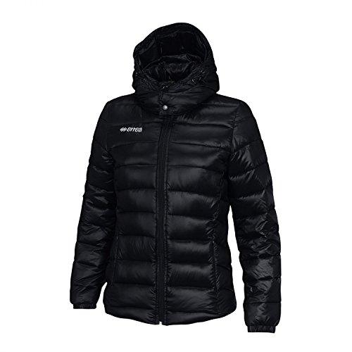 Erreà Doudoune Jay avec capuche (chaude et douce) idéale pour les loisirs, l'automne et l'hiver - Veste matelassée slim fit pour femme en nylon/polyester S Noir