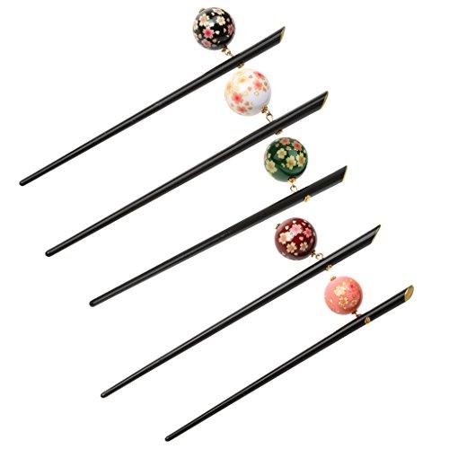 freneci 5 Stück Retro Haarspange Japanische Sakura Perlen Haarstäbchen Haarschmuck Haarnadel