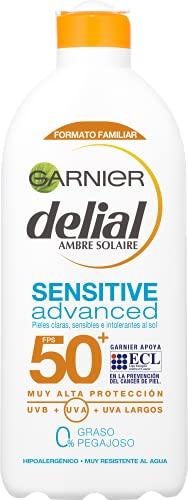 Garnier Delial Sensitive Advanced - Leche Solar para Pieles Claras, Sensibles e Intolerantes al Sol, Alta Protección IP50+ - 400 ml