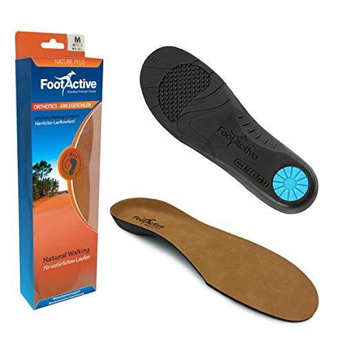 FootActive NATURE PLUS - Leder-Einlegesohlen - Laufkomfort für Füße, Beine und Rücken, speziell bei Fersensporn - Federleichte Vollsohle!, Braun, 44 - 45 (L)