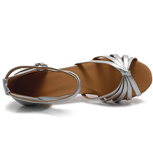 VASHCAME Damen Hoher Absatz Tanzschuhe Standard/Latein Silber Knoten (Absatzhöhe-5CM) 41 EU - 3