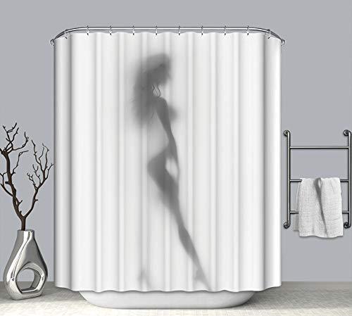 Rubyia Duschvorhang 120x180, Sexy Frau 3D Motiv Badewannen Duschvorhang, Polyester, Schwarz Weiss