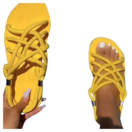 JoCome Nouveau été Femmes Sandales,Sandales Plates Chaussures Été Tongs à Talons Plats Claquettes Peep-Toe Wedge Confortables Sandales Nu Pieds Semelle Compensée pour Filles Plage