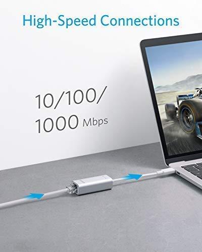 Anker USB-C auf Ethernet Adapter für USB Type-C Geräte inklusive des neuen MacBooks, ChromeBook Pixel und weitere (Silber Aluminium)
