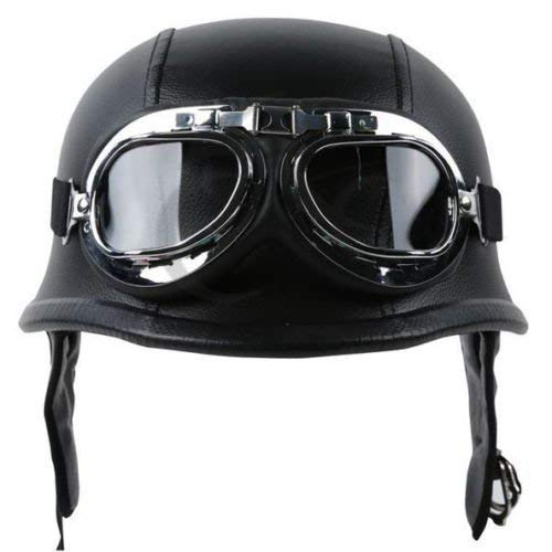 TCMT Dot Adult German Style Black Leather Half Helmet Motorcycle Chopper Cruiser Biker Helmet+Goggles XL
