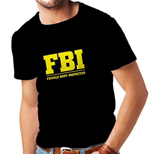 lepni.me Männer T-Shirt Körperinspektorin - FBI - Dummes Akronym, Lustige sarkastische Zitate (Large Schwarz Gelb)