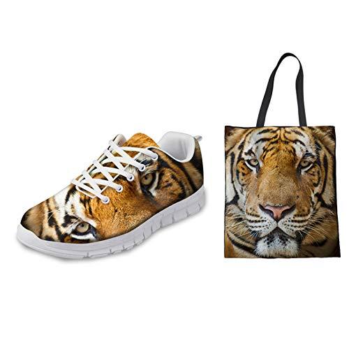 HUGS IDEA Lässige Slipper Wanderschuhe Canvas Bag Set Set, Tiger Vivid Printed Running Jogging Training Outdoor Sport Sneaker EU 35