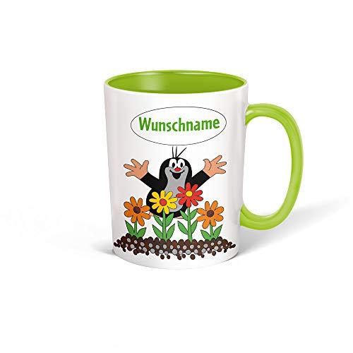 Trötsch Tasse Der kleine Maulwurf mit Wunschname personalisierbar, Namenstasse, Teetasse, Kaffeebecher, Geschenkidee zum Geburtstag, Kindertag oder Schulanfang für jung und alt … (Grün Blumen)