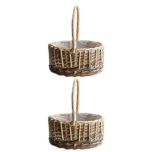 Cabilock 2 Piezas Cesta de Almacenamiento Tejida a Mano Cesta de Mimbre de Bambú Cesta de Planta de Mimbre Cesta de Picnic Bandeja para Servir Aperitivos Comida Pan Frutas Contenedor de