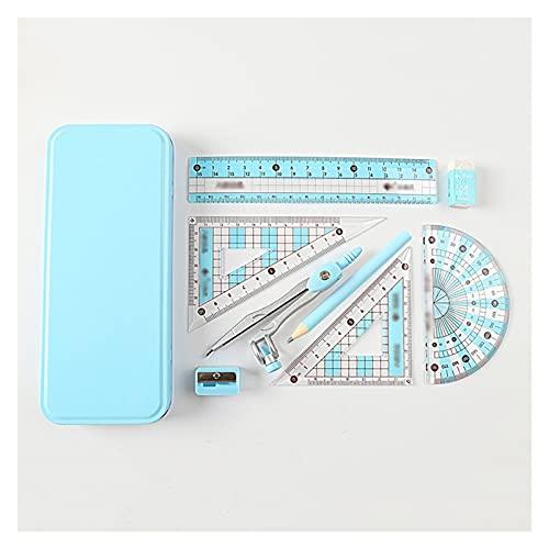 Compás de Dibujo Kit de geometría Kit de herramientas matemáticas de 8 piezas con compasses Protractor Lápiz Borrador de borrador Triángulo Caja de almacenamiento de la regla 6in Brújula Papelería de