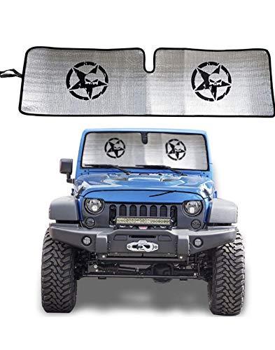 Carps Windshield Sunshade for 2007-2018 Jeep Wrangler Sun Shade Heat Shield Sun Visor Mat for Jeep Wrangler Rubicon Sahara JK, JKU, 2 Door & 4 Door
