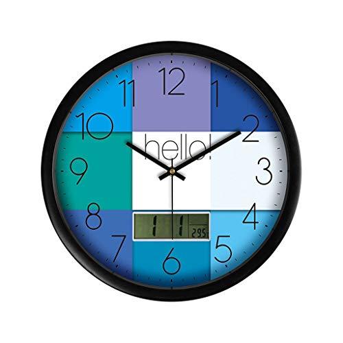 SHUMACHENG2020 Reloj Pared Creativo LCD Multi-función de Reloj de Pared Sala de Estar de Cuarzo Reloj de Pared Mesa Colgando Reloj de Pared (Color : B)