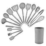 Silicone cookware set, 14-piece kitchen utensils, non-stick cookware, with stainless steel handles, cooking kitchen gadgets
