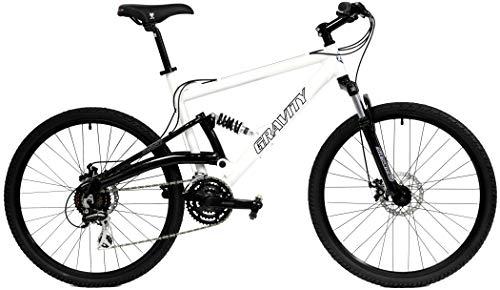 2020 Gravity FSX 1.0 Dual Full Suspension Mountain Bike with Disc Brakes (White, 21in)