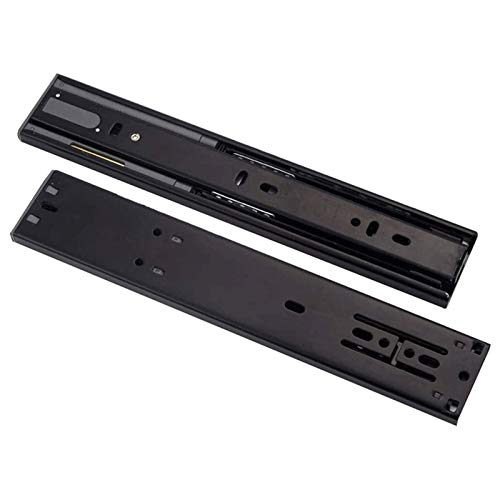 L-DREAM Guías para Cajones Diseño Elástico de 3 Secciones Silent Track (Color : Black, Size : 45cm)