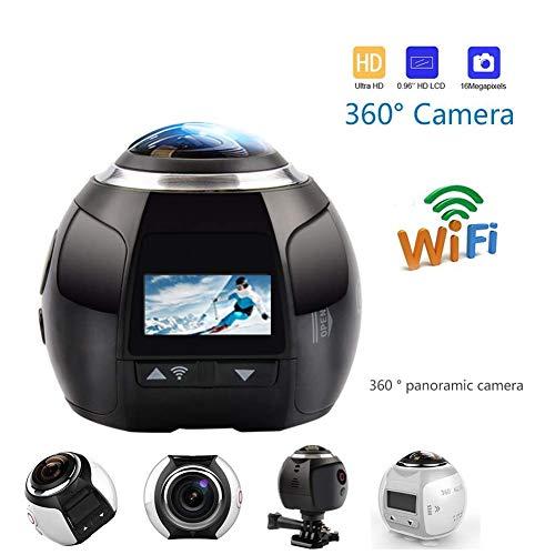 360 Action Camera 4K WiFi Mini Panoramic Camera Panoramic Camera,Video 4K, Model: V1,White